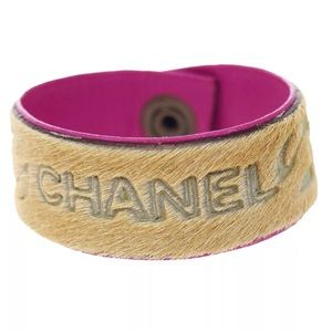CHANEL Jewelry - CHANEL A01 Leather & Etched Pony Hide Cuff $899